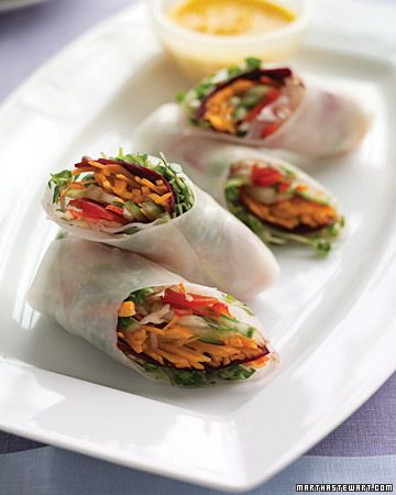 Spring Rolls with Ginger-Carrot Sauce