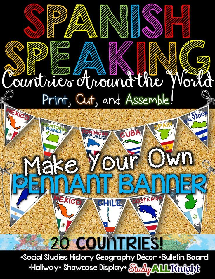 Spanish Speaking Countries Classroom Decor Make Your Own Pennant Banner ($)