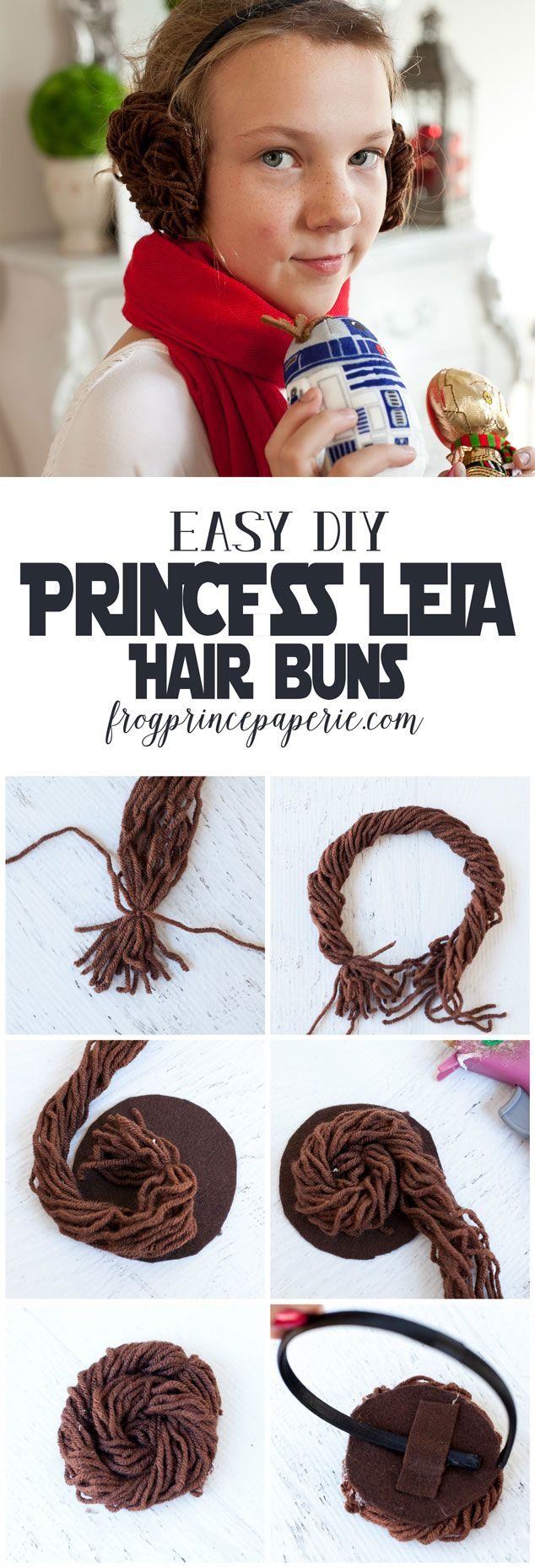 10 minute DIY Princess Leia buns from headbands - get ready for Star Wars!