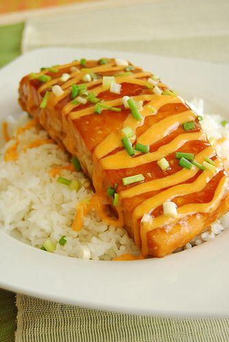 80 Breakfasts: Teriyaki Salmon with Sriracha Cream Sauce