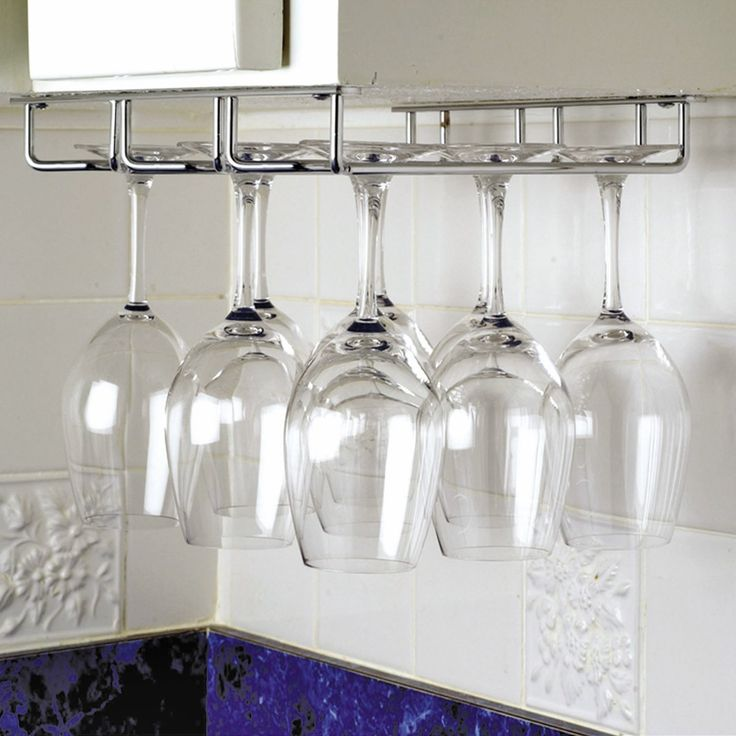 Lovely Kitchen, Stainless Steel Wine Glass Hanging Rack White Ceramic  Backsplashes Best Wall Mounted Wine Glass Rack Above Stainless Steel Sink:  Creative ...