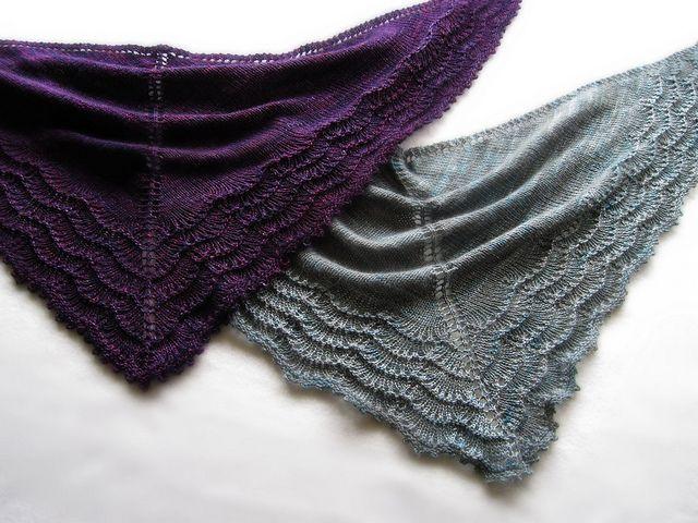"Lovely shawls, both in beautiful yarn: madelinetosh tosh merino light in ""flashdance"" and viola fancy sock in ""sea storm"""