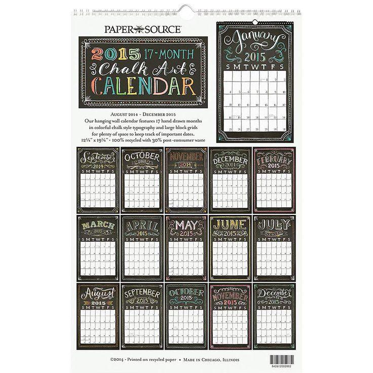 Wall Calendar Typography : Chalk grid wall calendar typography pop of color