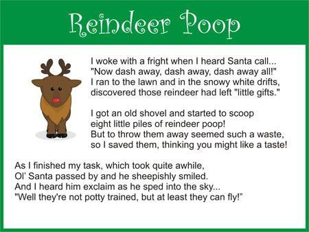 Printable reindeer poop poem from FreeSantaLetters.net