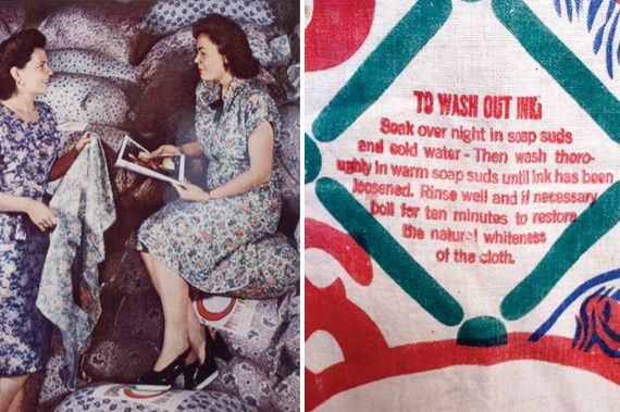 Left: Two women in feed sack dresses, National Geographic, 1947. Right: Instructions from a chicken feed sack.