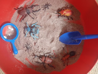 Sensory Dirt. Made from cocoa powder, flour and coffee granules to make an amazing sensory mixture. Great to touch and smell and edible too! I added bugs, spades and a magnifying glass to explore.  We then added water to make a chocolatey gloop.