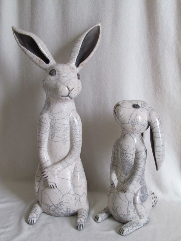sculpture raku animaux lapins céramique grès Danièle Meyer (