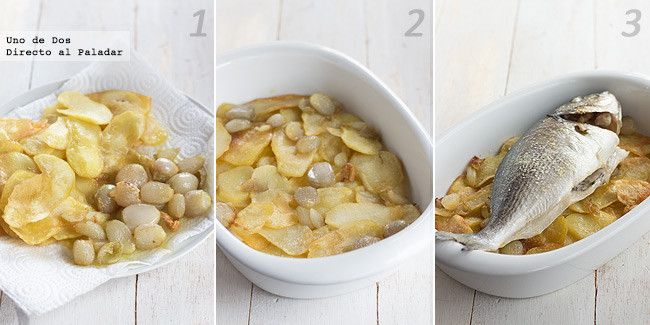 Dorada al horno con patatas. Receta paso a paso