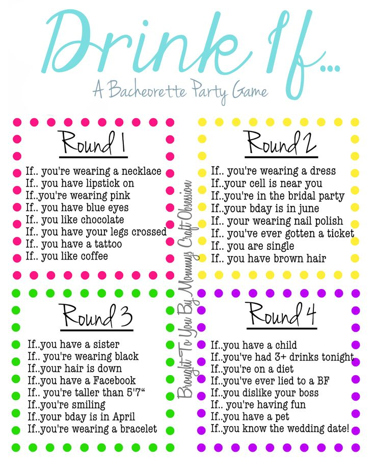 Drink if a bachelorette party game free printable