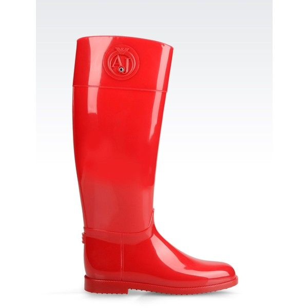 Armani Jeans Rubber Rain Boot ($94) ❤ liked on Polyvore featuring shoes, boots, red, wellington boots, round toe boots, wellies rubber boots, rounded toe boots y wellies boots