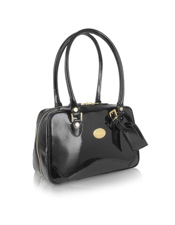 Black Italian Patent Leather Shoulder Bag