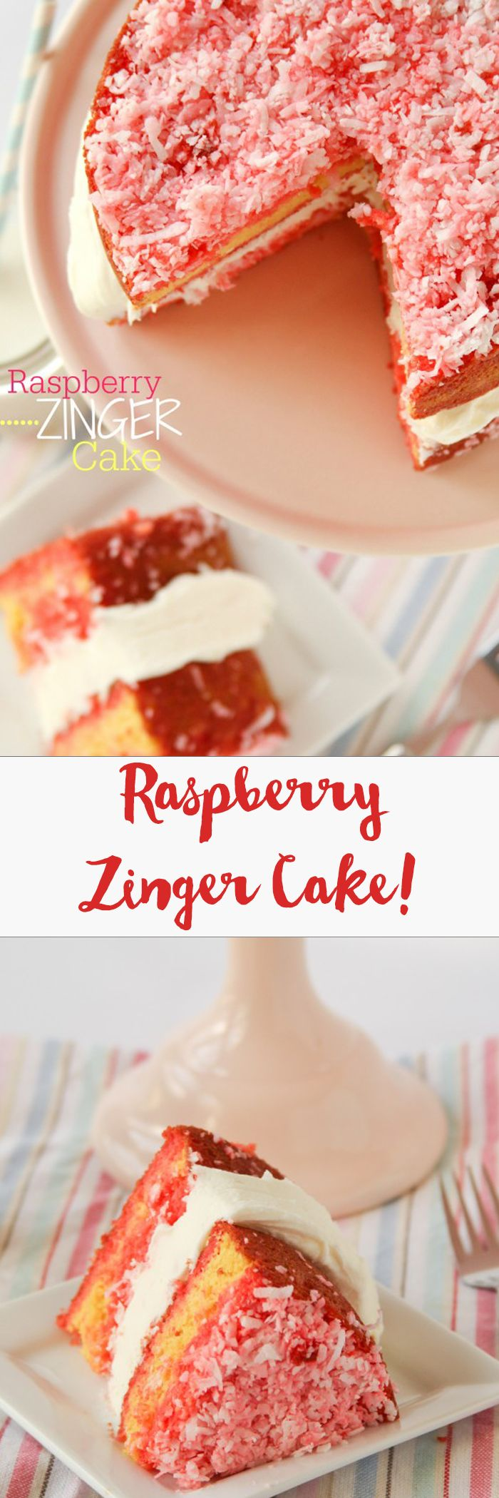 Raspberry Zinger Layer Cake -- just like eating a giant raspberry zinger! This always gets rave reviews from anyone who makes it! One of my most popular recipes of all time!