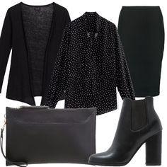 Vestito nero con camicia nera hammered