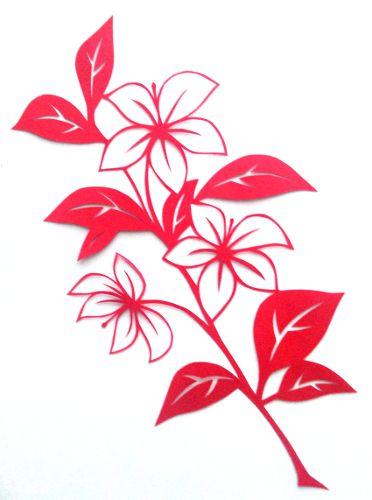 cut paper design Flower Branch