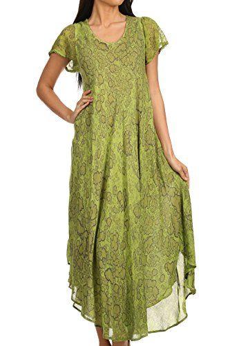 Sakkas Lila Freckled Dyed Cap Sleeve Scoopneck Long Caftan Dress / Cover Up