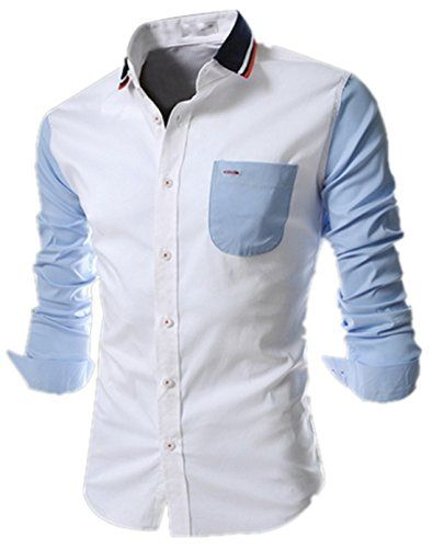 New Mens Casual Formal Shirts Slim Fit Shirt Top Long Sleeve M L XL XXL PS19
