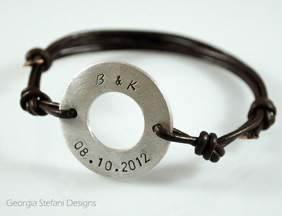 Personalized aluminum washer leather bracelet. by DreamCityJewels