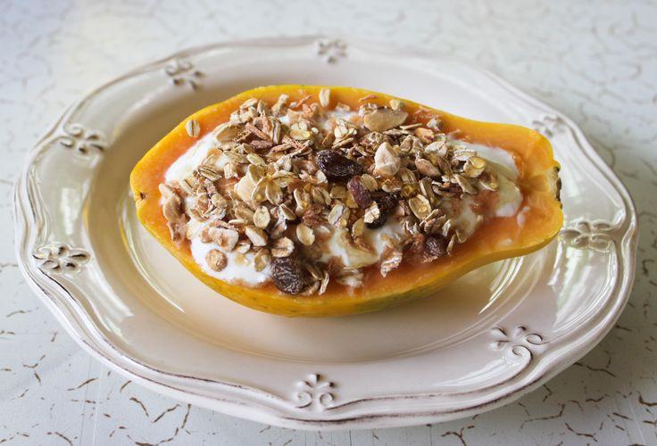 Papaya and yogurt muesly bowl- Healthy snacks
