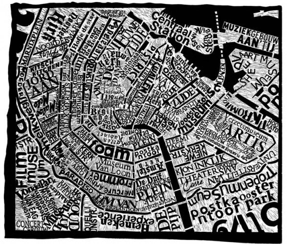 Amsterdam Linocut Print  Typographic Map of Amsterdam  Linocut made by Mark Andrew Webber.   Hand Carved Linocut map + prints.  Size: 100cm X 120cm  some linocut prints for sale via:  www.thefuturetense.net/