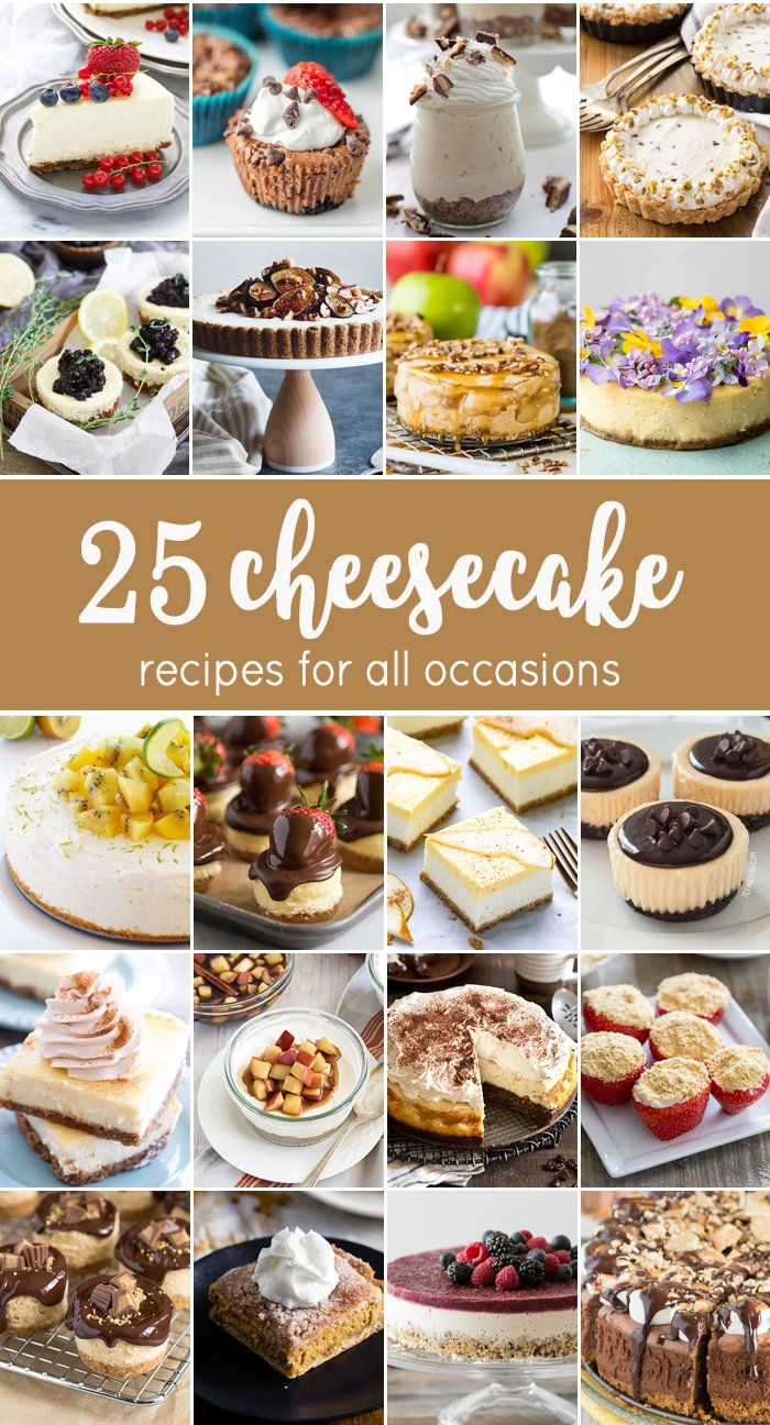 25 CHEESECAKE RECIPES just perfect for the holidays. Christmas wouldn't be completely without lots of delicious cheesecake. Every flavor and variety you can imagine!