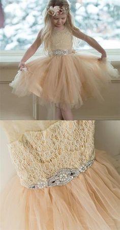 Illusion Lace Top Tulle Flower Girl Dresses, Popular Little Girl Dresses with rhinestone Belt, FG033