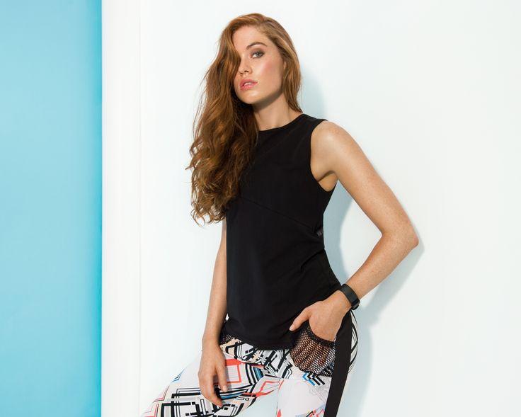Women's exclusive activewear #geoprint #printedpants #activetank #assymetric