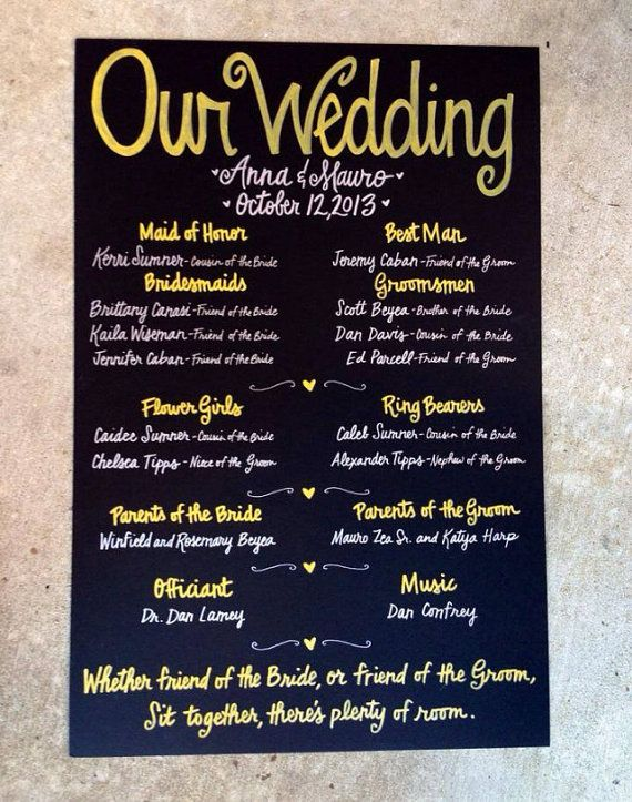 Menu in fall wedding colors! Custom Hand-Painted 20x30 WEDDING CHALKBOARD POSTER signage wedding ceremony program party menu engagement shower on Etsy, $120.00