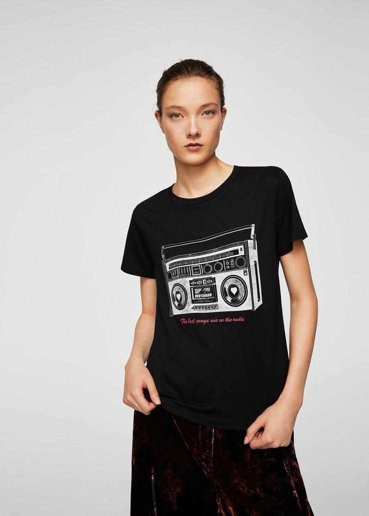 Koszulka ze wzorem retro   MANGO
