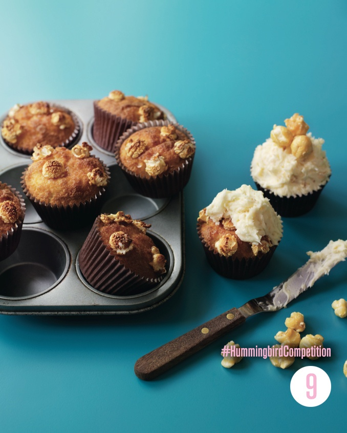 Popcorn Cupcakes. Enter our #HummingbirdCompetition by March 6th, 2013 for a chance to win 1 of 3 free Home Sweet Home cookbooks. Rules and how to enter can be found here: https://www.facebook.com/notes/the-hummingbird-bakery/win-a-copy-of-home-sweet-home/567680519908799