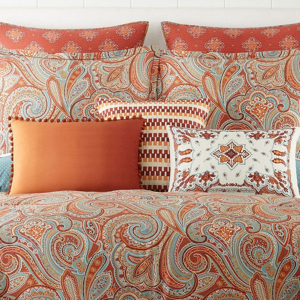 JCPenney Home™ Morocco 4-pc. Comforter Set (£68) ❤ liked on Polyvore featuring home, bed & bath, bedding, comforters, king size comforter set, king sham, queen pillow shams, paisley comforter and king size comforters
