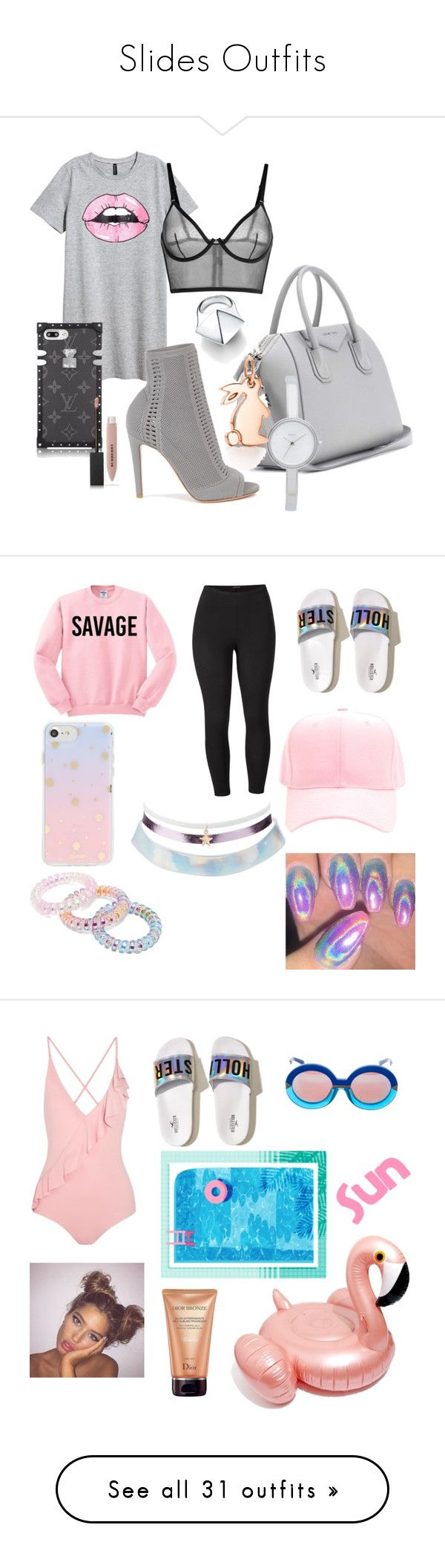 """""""Slides Outfits"""" by malwahl ❤ liked on Polyvore featuring H&M, Gianvito Rossi, Givenchy, Burberry, La Perla, DKNY, Tiffany & Co., shoes, pink with shine and pink metallic shoes"""