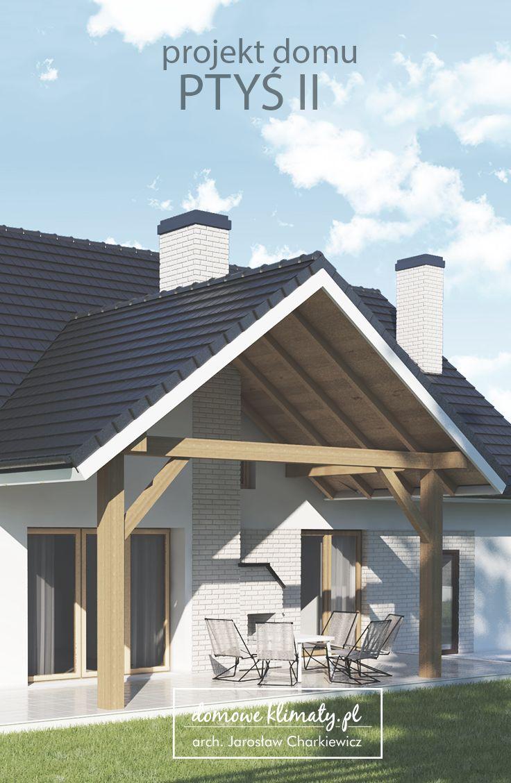 Projekt małego (ok. 130 m2) domu z użytkowym poddaszem i wbudowanym garażem jednostanowiskowym  Niewielkie rozmiary nie stanowią przeszkody, aby dom mógł być komfortowy i wyposażony we wszelkie niezbędne udogodnienia. To zasługa przede wszystkim dobrego wykorzystania przestrzeni. Zaletą tego projektu są bez wątpienia duża kuchnia i salon z zadaszonym tarasem. Tuż obok znajduje się jadalnia z panoramicznym narożnym oknem.