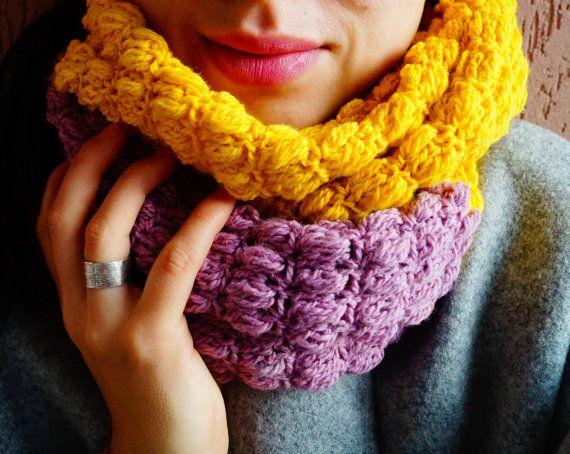 Yellow Pink crochet cowl Crochet scarf Infinity by KvitkaShop
