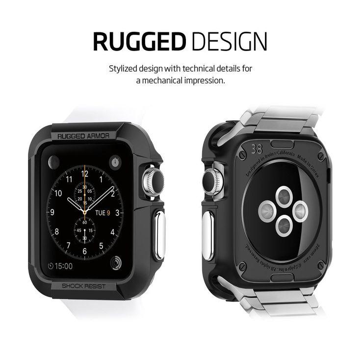 Spigen Apple Watch CASE (42mm) (BIGGER VERSION) Rugged Armor (Black) (SGP11496):