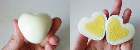 Huevos en forma de corazón