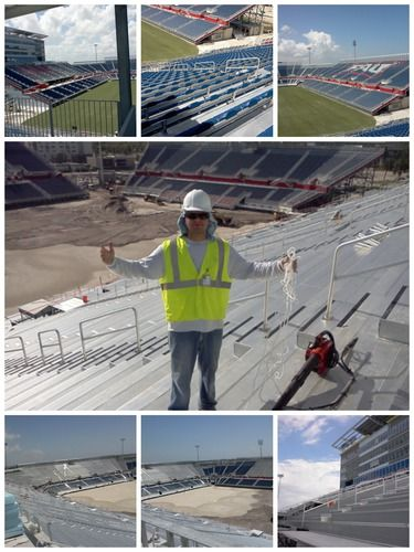 Commercial pressure cleaning : Cleaning of the whole stadium by  finish line team. | johnfinish
