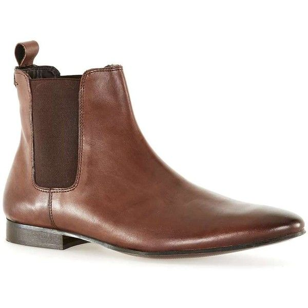 TOPMAN Tan Leather Chelsea Boots ($68) ❤ liked on Polyvore featuring men's fashion, men's shoes, men's boots, brown, mens leather chelsea boots, mens tan chelsea boots, mens tan boots, mens pointed toe boots and mens tan leather boots