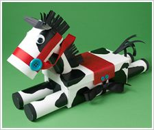 Pinto Pony made from recycled toilet paper rolls and tissue box #crafts