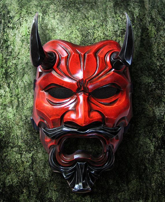 Uncle Oni Mask 307  Red Japanese Noh Style by TheDarkMask on Etsy, $190.00