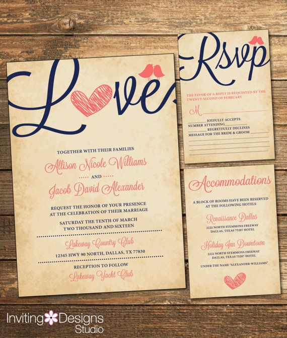 Rustic Wedding Invitation, Love Bird, Coral and Navy, Vintage, RSVP Card, Accommodations Card, Printable Wedding Suite (PRINTABLE FILE)