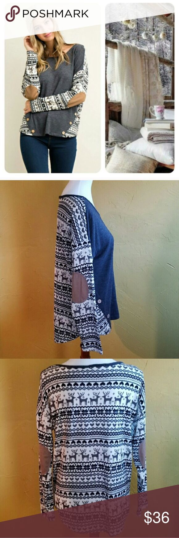 Entro Nordic Print Elbow Patch Pullover Charcoal with white, grey, and black print contrast . Suede elbow patches . Button detail front . Round hem . Knit . 79% polyester . 18% rayon . 3% spandex . Fits true to size . Price is FIRM.  #123120 Entro Tops Tees - Long Sleeve