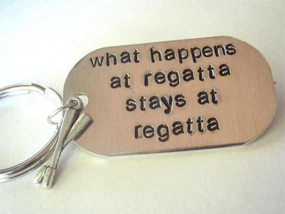 crew keychain rowing keychain hand stamped by TumbleThreads, $10.00