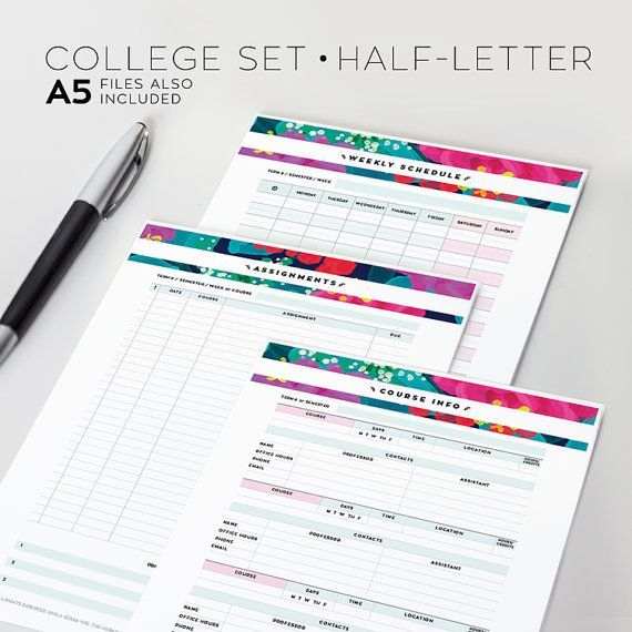Organize your assignments, course info, and schedule with these college planner printables. Options for viewing your schedule include a weekly, monthly