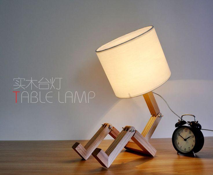Aliexpress.com: Comprar El estilo Nórdico IKEA dormitorio estudio lámpara de noche lámpara de mesa de madera de lino El robot niños regalos de Año Nuevo de regalo de ajedrez fiable proveedores en XMAS_Light Mall