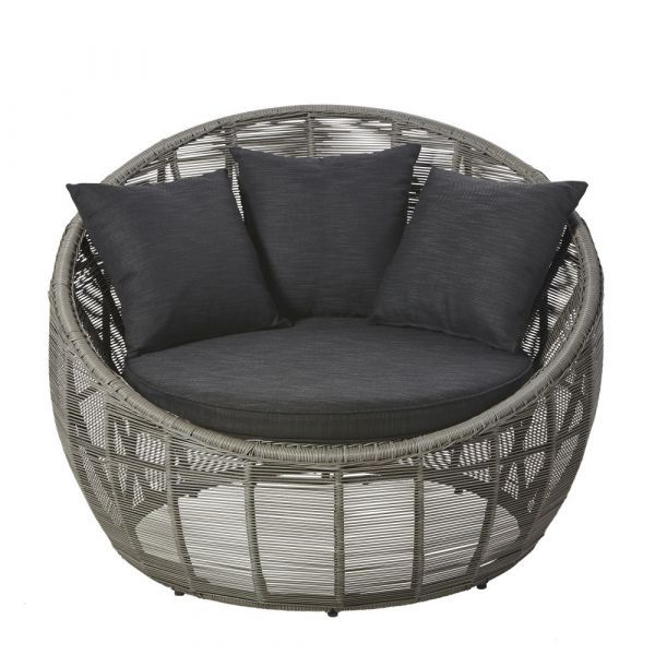 Round Gray Resin Wicker Outdoor Lounge Chair In 2020 Lounge Chair Outdoor Grey Rattan Garden Furniture Resin Wicker