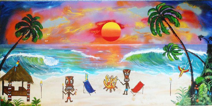 "Huge Tiki Art  24"" x 48"" canvas  Tiki bar art painting,tiki art on canvas,  Tiki party ,  tropical beach art decor. Beach art nautical decor - pinned by pin4etsy.com"