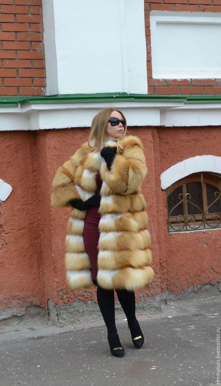 Купить Шуба из меха сибирской рыжей лисы. Поперечная. Рукав 7/8 - шуба из лисы поперечная