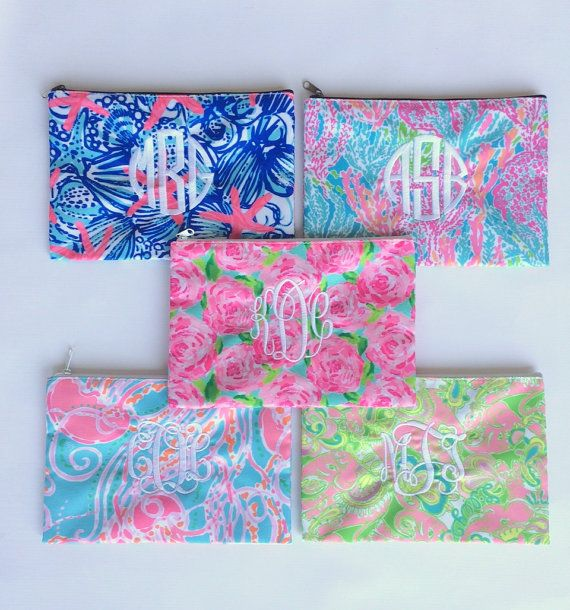 Lilly Pulitzer Monogrammed Pencil Cosmetic Case First by tinytulip