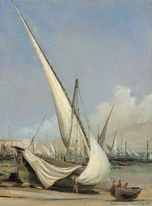 art-and-dream:Fishing Boats, Castellammare by Thomas Fearnley  1802 - 1842 Norwegian    painting