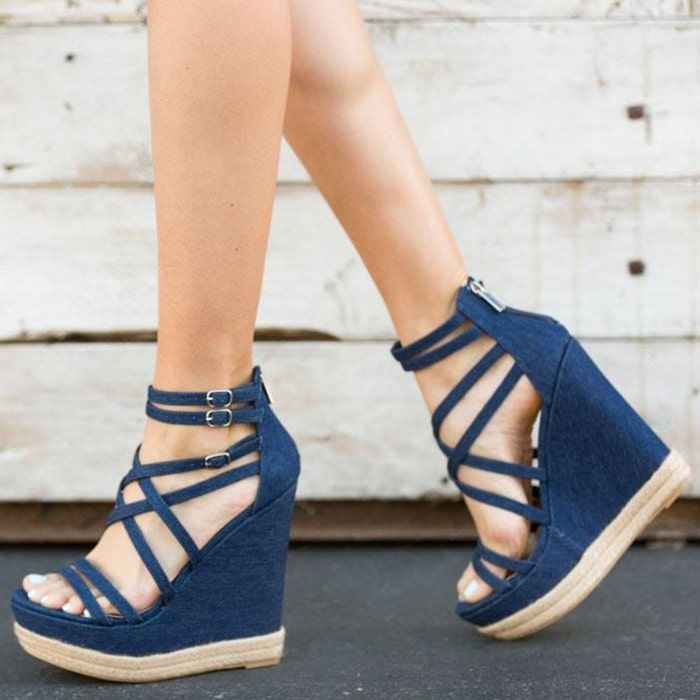 d13b8f744da Sexy strappy caged high platform wedge sandal with braided jute detail